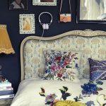 çiçek desenli boho yatak odası