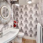 banyo için siyah beyaz duvar kağıdı