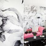 çiçek desenli siyah beyaz duvar kağıdı