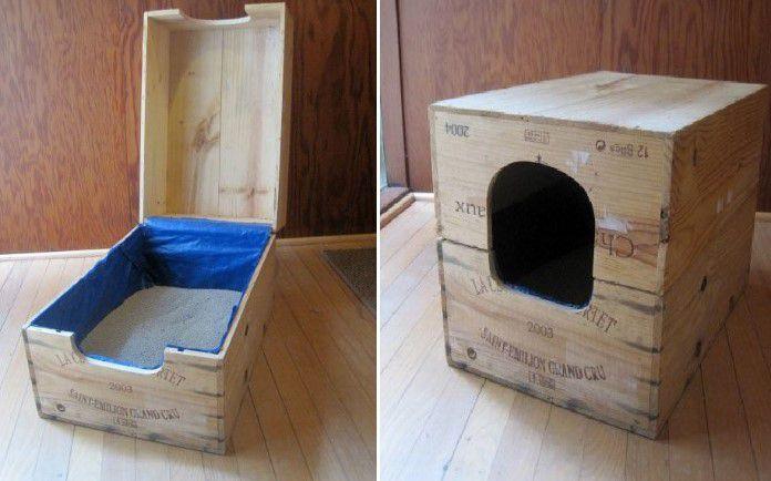 kedi tuvaleti için kutu yapımı