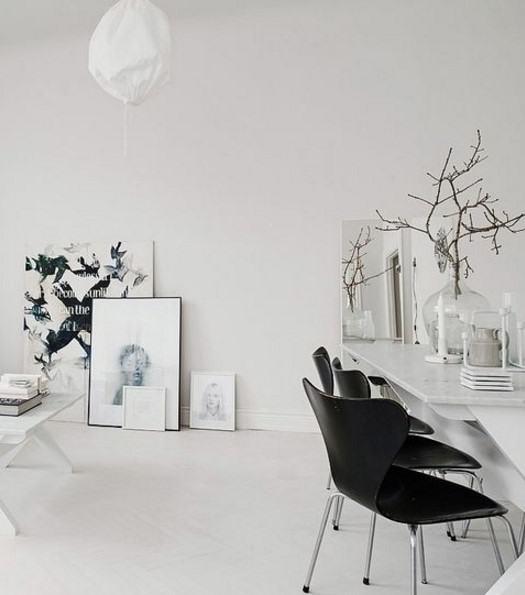 siyah beyaz iskandinav ev dekoru