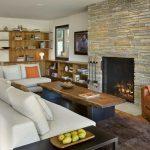 Taş şömine ile ev dekorasyonları
