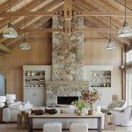 Taş şömine ile ev dekorasyonları 9