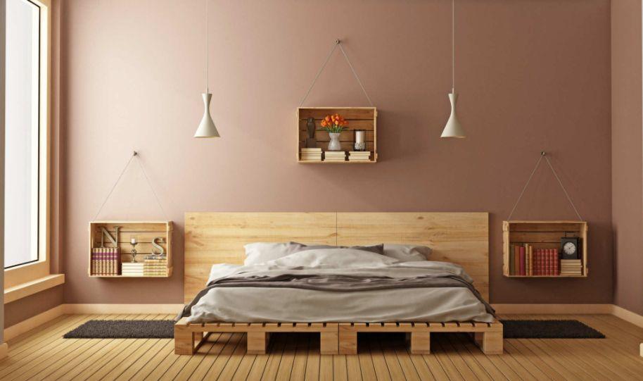 Ahşap Palet Yataklar Ile Sıcak Ve 214 Zel Yatak Odaları Ev