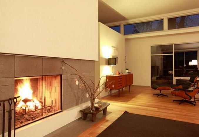 ev dekorunda modern şömine tasarımları
