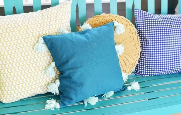 evde püsküllü yastık yapımı - diy