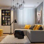 gri detaylı modern oturma odası dekorasyonu