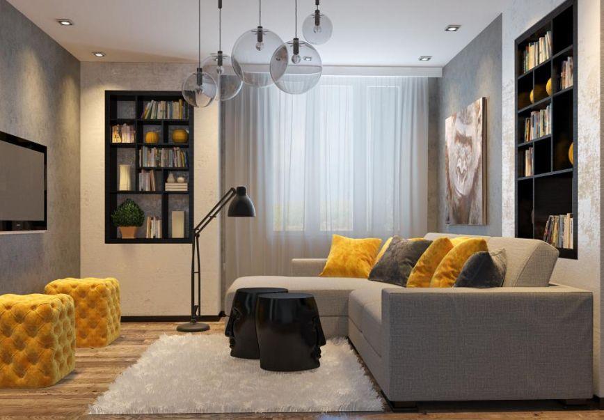 gri detaylı modern oturma odası dekorasyonu | Ev dekorasyonu