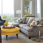 gri sarı modern salon dekorasyonu