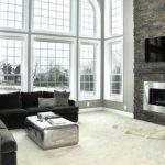 modern şömine tasarımı ile salon