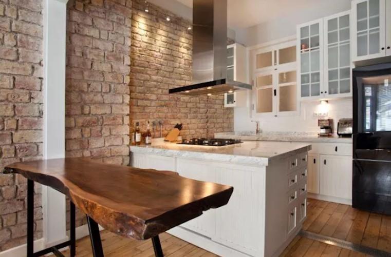 doğal taş duvarlar ile modern mutfak dekorasyonu 2019