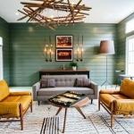 haki yeşil duvarlar ile salon