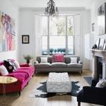 pembe kanepe ile salon dekorasyonları 2018
