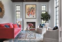 pembe kanepe ile salon dekorasyonu
