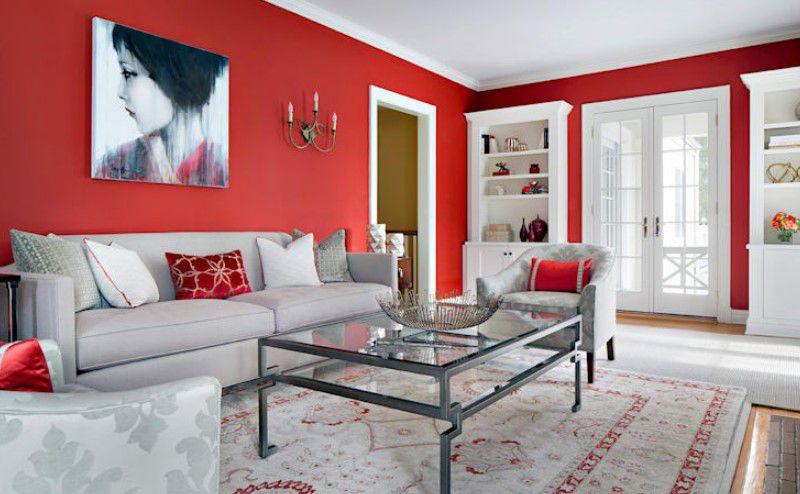 Salon duvarları için en iyi boya renkleri kırmızı