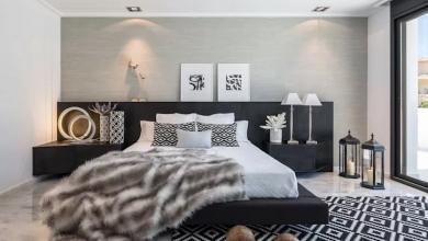 siyah beyaz yatak dekorasyonları 2018