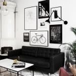 siyah deri koltuklarla salon dekorasyonu