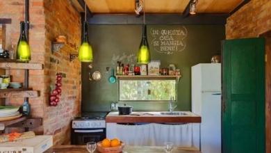 tuğla duvarlı rustik mutfak modeli 2018