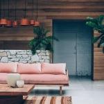 ahşap duvarlı salon dekorasyonları 2018
