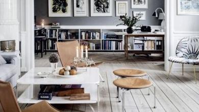 gri zeminli İskandinav oturma odası 2018
