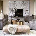 metalik gri oturma odası dekorasyonu