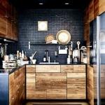 siyah ve ahşap mutfak modeli