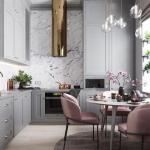 gri ve pembe mutfak dekorasyonu fikirleri 2018