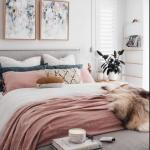 gri ve pembe yatak dekorasyonu 2018