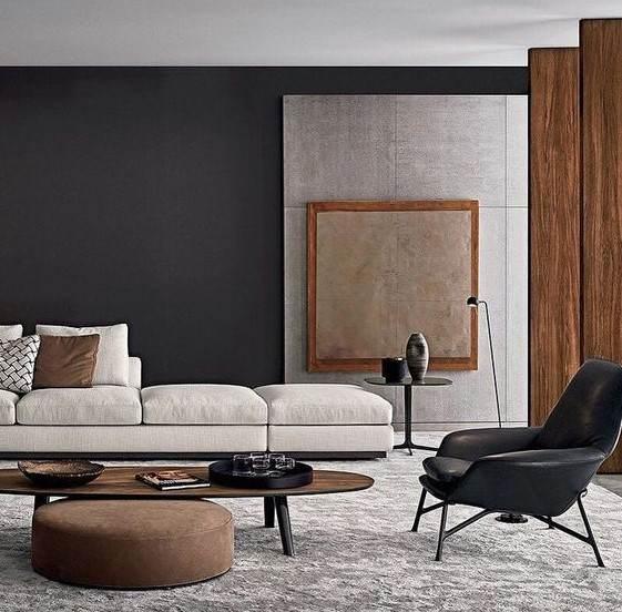 siyah duvar boyası ile oturma odası dekorasyonu
