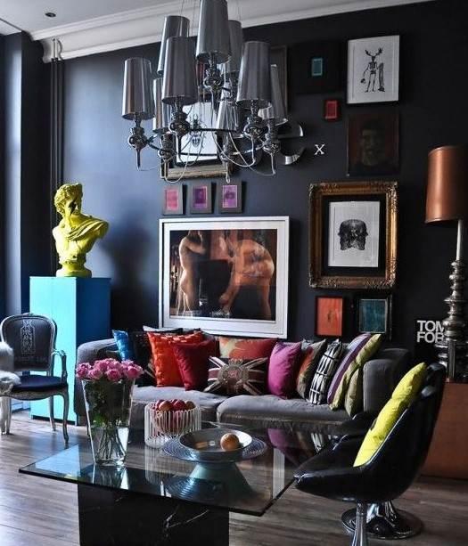 siyah duvarları ile oturma odaları 2018