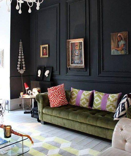 siyah duvarlı oturma odaları