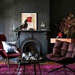 siyah duvarlı oturma odası dekorasyonu