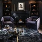 siyah duvarlı oturma odası dekorasyonu 2018
