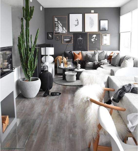 siyah duvarlı oturma odası