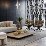 siyah panelli duvarlar ile oturma odası dekorasyonu 2018