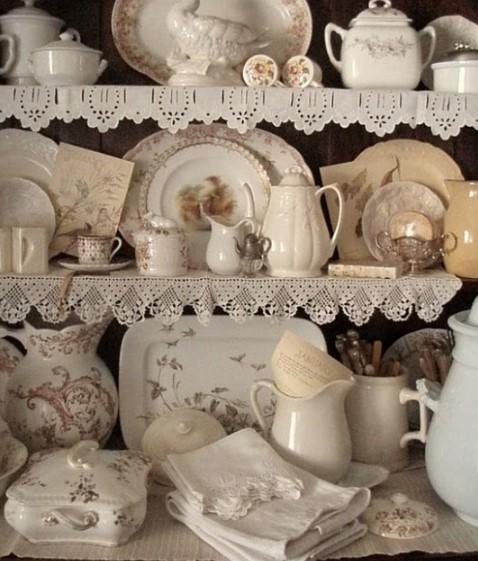 dantel ile vintage ev dekoru