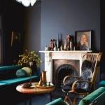koyu renk oturma odası dekorasyonları 2018