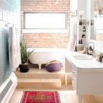 tuğla duvar banyo dekor fikirleri 2018