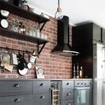 tuğla duvar mutfak dekorasyonları 2018