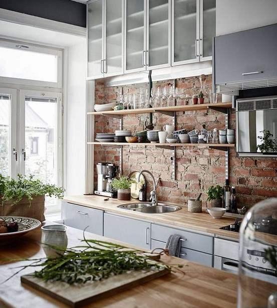 tuğla duvar mutfak dekorasyonu 2018