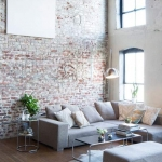 tuğla duvar salon dekor fikirleri 2018