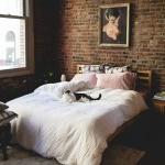 tuğla duvar yatak odası dekor fikirleri 2018