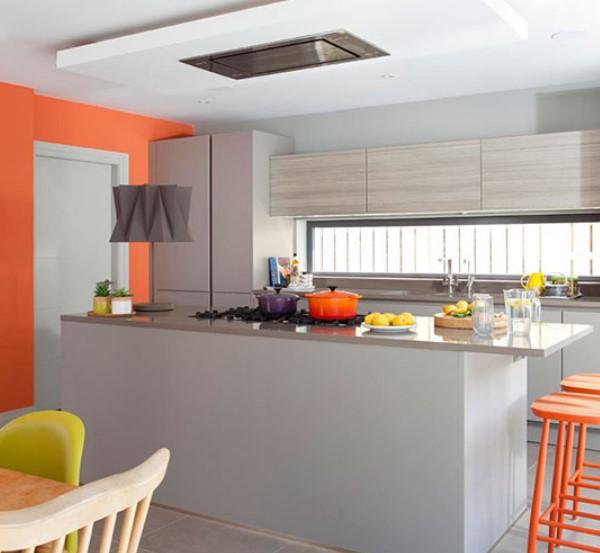 boyalı mutfak dolapları ve duvarlar