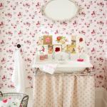çiçek desenli vintage banyo dekorasyonu 2018