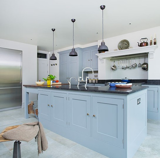 Blue Greyish Country Style Kitchen Units