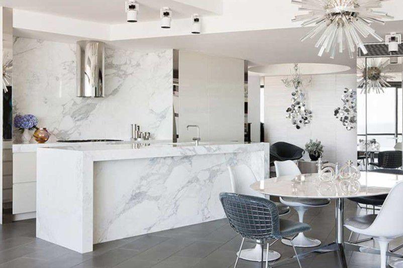 modern mermer mutfak dekorasyonu 2018