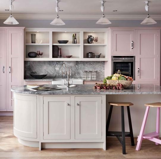 pembe boyalı mutfak dolapları - diy