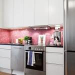 pembe parlak fayanslar ile mutfak dekorasyonları 2018