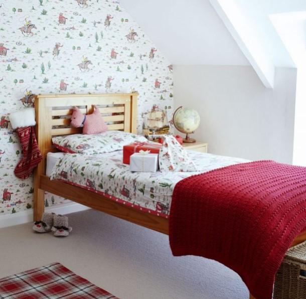 kırmızı retro çocuk odası dekorasyonu
