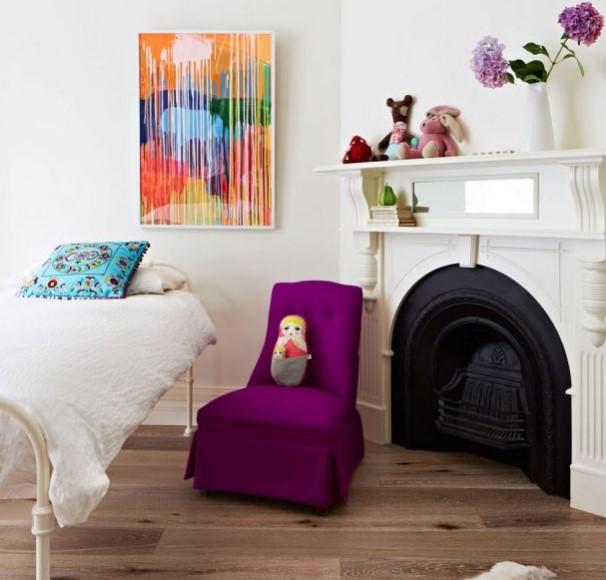 mor renkli çocuk odası dekorasyonu